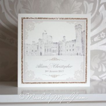 Peckforton Castle Glitter Glamour Wedding Invitation